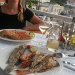 Sea plate and grilled shrimps