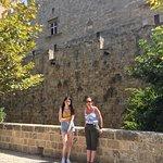Rhodes harbour and castle.