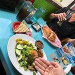 Mediterranean Salad with gluten-free flatbread