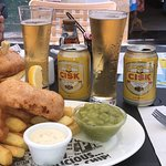 Fish and Chips with Cisk - Yummy!