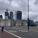 View of roadway of London Bridge looking towards the Financial Center