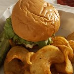 BLT burger and fries - fries cut very different but hubby loved them
