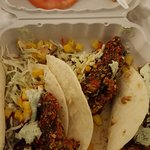 fish tacos (fried, so picked coating off).