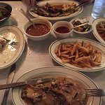 Veal scaloppini and lamb chops with other accoutremounts