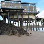 At low tide you can walk under the lifeboat station