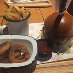 Feckin' Hot Burger with chips and onion rings