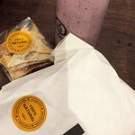 mixed berry shake and chicken shawrma sandwich
