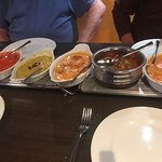 left to right ,Chicken Tikka , Dhal & black chilli,Chicken Pasanda ,Chicken Naga , KingPrawn Del