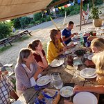 In summertime we dine outside with our guests