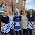 Our Coffee Shop Ladies getting into the spirit of the 1940s weekend