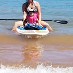Me and my son on one of the paddle boards. He loved it. would fall asleep.
