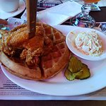 Chicken with herbed cheese waffle