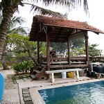 Hut and pool.