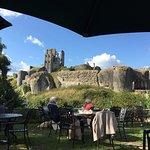View of Corfe Castle from tea room garden