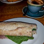 Ham baguette and coffee