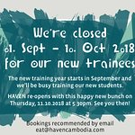 Closed for Training Weeks (01.09.-10.10.2018)