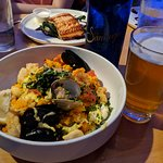 I got the Seafood Paella = Excellent! And my wife/daugter got the Pan Seared Salmon (great!)