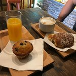 Very friendly, great cappuccino, pastries and fresh orange juice!