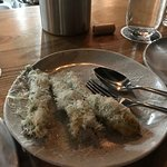 Zucchini Flower   Pecorino, Truffle Honey = brilliant!!