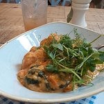 Yummy Sweet potato and apricot curry with an elegant topping of pea shoots. Yummy!