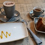 Cramel choccie brownie and hot chocolate & walnut cake and double espresso - so delish!!