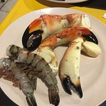 My plate of crab claws and shrimp