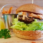 Beef and Reef Burger with King Prawns