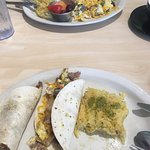 DELICIOUS!! Brisket tacos & Philly cheesesteak dish! Both with the hash brown casserole! So good