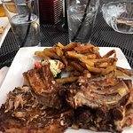 Birch beer short ribs with fries and pepper salad