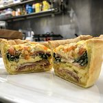 Breakfast Quiche! Fresh out of the oven, you can almost see the steam! $5.50 or $8.00 w/ salad.