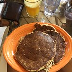 Multi-grain pancakes and fresh squeezed orange juice