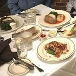 Our entrees - each was delicious, generous portions, fresh baked bread covered by cloth napkin