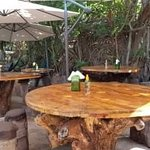 great tables and tree stump stools