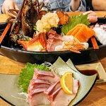 Lobster sashimi combo, Front - Hamachi sashimi