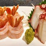 prawn and octopus sashimi