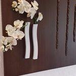 Hotel corridor flower arrangement.