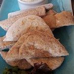 Warm pitta bread and hummus