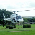 Helicopter take off in the grounds.