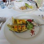 Grilled seabass starter