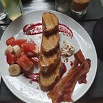 Easy breakfast, toast, bacon and fruit