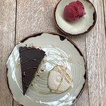 Chocolate tart, cashew cream, coffee caramel. Looks good right?