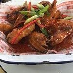Bacon cheeseburgers n sweet chilli chicken burger. Milkshake. Hot Asian wings. Yummy.