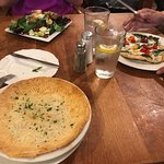 Chicken pot pie, pizza and beet salad