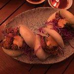 Gua Bao with fried chicken and sriracha slaw