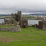 Peel Castle - the ruins of St German's Cathedral. gatehouse and Civil war defenses