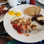 diamond point breakfast. Bacon is a side dish. so delish. farm fresh eggs!