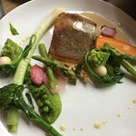 Fish of the week with pea purée, pickled jerusalem artichoke and creamy fish sauce