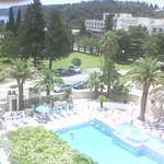 The view at the outdoor pool area from the room