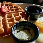 waffle with eggs and sausage