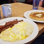 Bacon, Eggs, Grits, and Waffles
